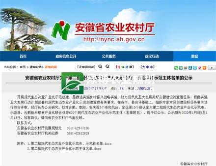 安徽第二批现代生态农业产业化示范市、示范县